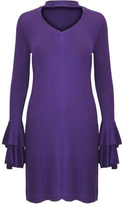 Ooops Womens High Choker Neck Keyhole Cut Out Long Bell Sleeve Mini Shift Dress Purple