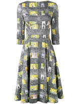 Olympia Le-Tan Rear Window Print Boat Neck Dress - Grey - Size FR38