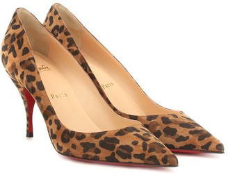 Christian Louboutin Clare 80 printed suede pumps