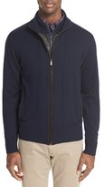 Paul & Shark Men's Zip Wool Cardigan With Lambskin Leather Bib