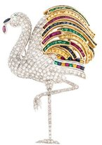 18K Ruby & Multistone Flamingo Brooch