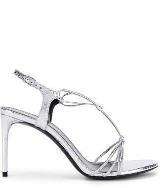 Saint Laurent Robin Lace Sandals in Silver | FWRD
