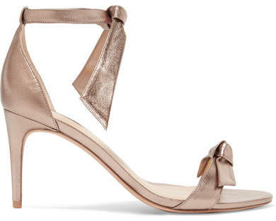 Alexandre Birman Clarita Bow-embellished Metallic Leather Sandals - Gold