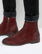 Asos Chelsea Boots In Burgundy Suede With Leather Details