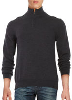 Black Brown 1826 Quarter-Zip Wool Sweater