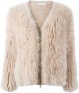 Brunello Cucinelli goat fur V neck jacket