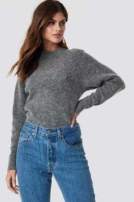NA-KD Wool Blend Raglan Sleeve Sweater Grey