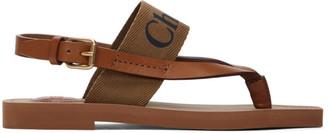 Chloé Brown Woody Flat Sandals