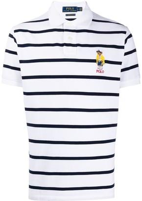 Polo Ralph Lauren Bear-Applique Striped Polo Shirt