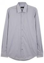 Pal Zileri Heather Grey Striped Cotton Shirt
