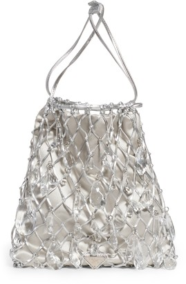 Prada Rete Crystal Embellished Macrame & Satin Drawstring Bag