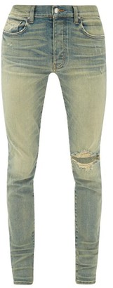 Amiri Broken Distressed Skinny Jeans - Mens - Light Blue