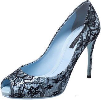 Dolce & Gabbana Blue Patent Leather and Black Lace Peep Toe Pumps Size 37