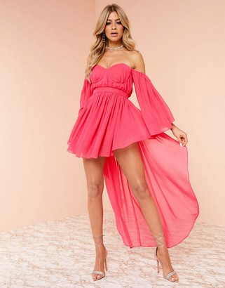 ASOS DESIGN Luxe high low chiffon maxi dress in pink