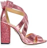 Charlotte Olympia Apollo Rose Quartz Metallic Leather and Glitter Sandal