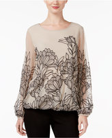 Alfani Embroidered Mesh Blouson Top, Only at Macy's