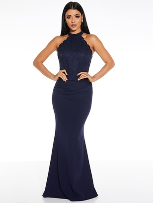 Quiz Scallop High Neck Lace Insert Maxi Dress - Navy