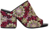 Strategia 70mm Embroidered Satin & Leather Mules
