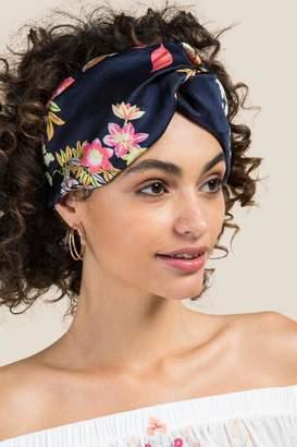 francesca's Dani Knotted Turban Headband in Navy - Navy