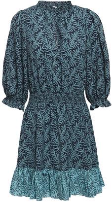 Joie Shima B Shirred Printed Crepe De Chine Mini Dress
