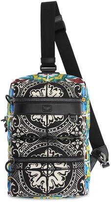 Dolce & Gabbana Printed Nylon & Leather Backpack
