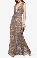 BCBGMAXAZRIA Aurora Embroidered Tulle Gown