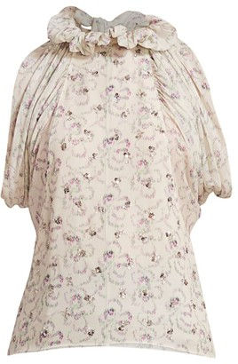 Chloé Ruffle Neck Embellished Floral Top