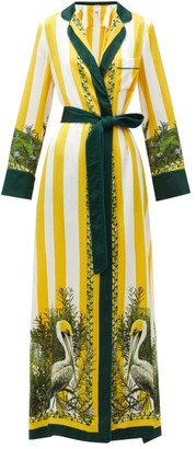 Issimo X F.r.s. For Restless Sleepers - Roda Striped Pelican-print Belted Silk Maxi Dress - Yellow Multi