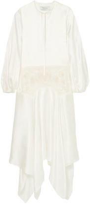 Marques Almeida Asymmetric Embroidered Tulle-paneled Silk-charmeuse Maxi Dress
