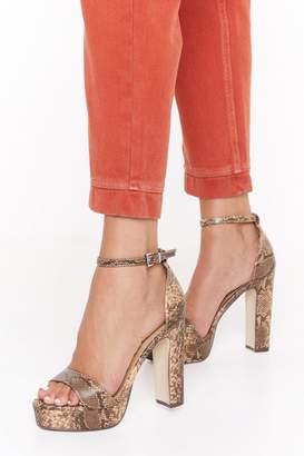 Nasty Gal Womens Faux Snake BS Platform 2 Part Heels - brown - 3