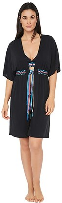 La Blanca Macrame Solids Belted Kimono Dress Swimsuit Cover-Up (Black Moon) Women's Swimwear