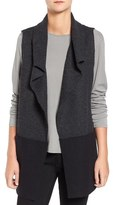 Eileen Fisher Colorblock Boiled Wool Funnel Neck Vest (Regular & Petite)