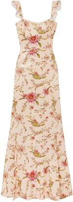 Rachel Zoe Leola Floral-print Sequined Georgette Gown