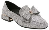 BUTITI Women's Loafers silver - Silver Glitter Rhinestone Bow-Tie Loafer - Girls & Women