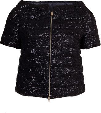 Herno Black Sequin Cap Sleeve Jacket