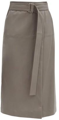 Joseph Salic Leather Wrap Midi Skirt - Grey
