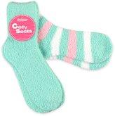 TeeHee Socks TeeHee Fashionable Cozy Fuzy Slipper 2 Pair Pack Women's Crew Socks - Rugby Stripe, Light Blue