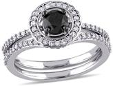 0.99ctw Black and White Diamond Engagement Ring and Wedding Band 14K White Gold 2-piece Bridal Set