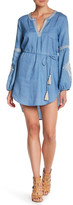 Blu Pepper Split Neck Embroidered Shirt Dress