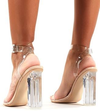 Public Desire Alia Clear Plastic Heeled Sandals - Clear Nude