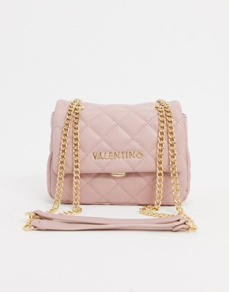 Valentino by Mario Valentino Ocarina cross body bag in pink quilt with chain strap