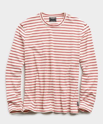 Todd Snyder Long Sleeve Japanese Nautical Stripe Tee in Red