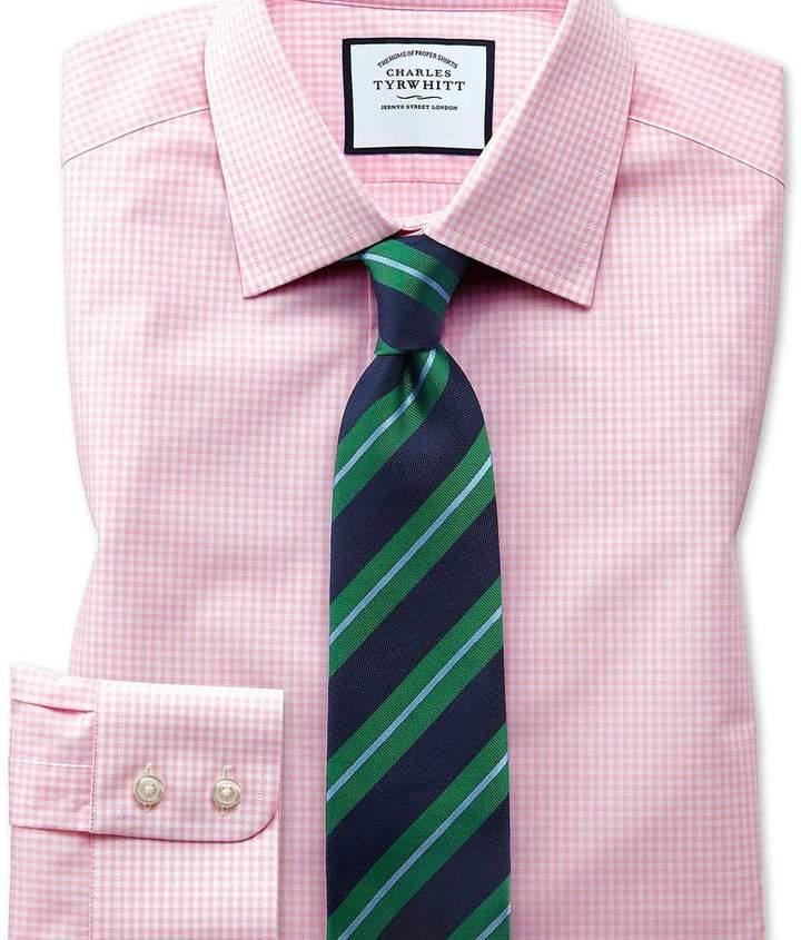 Charles Tyrwhitt Classic fit small gingham light pink shirt