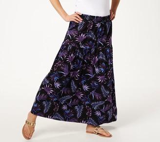 Denim & Co. Palm Printed Maxi Skirt with Smocked Waistband