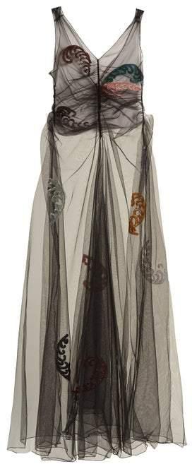 ATTICO The Penelope Embellished Tulle Dress - Womens - Black Multi