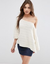 Asos Boxy Sweater With Off Shoulder Neck