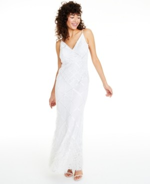 GUESS Sequined Feather-Trim Gown
