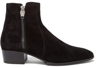 Balmain Mike Zip-up Suede Chelsea Boots - Black