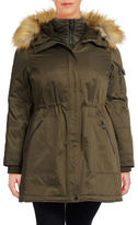 1 Madison The Coat Edit Plus Twill Parka with Faux Sherpa Bib