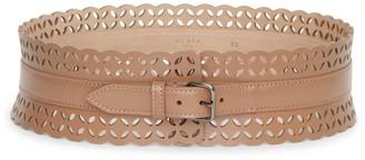 Alaia Laser cut dark nude leather belt